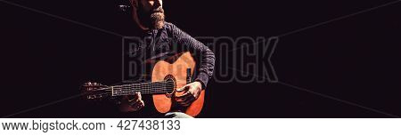 Guitars Acoustic. Live Music. Mans Hands Playing Acoustic Guitar, Close Up. Music Festival. Male Mus