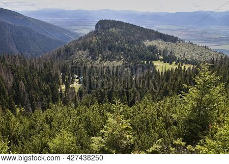 Bobrovec Valley, Slovakia, Cervenec Hill: Cottage Under Naruzie. Forest, Trees And Cottage. Western