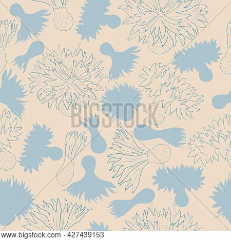 Seamless Vector Floral Pattern With Cornflower Heads. Isolated Color And Contour Flowers. For Easy M