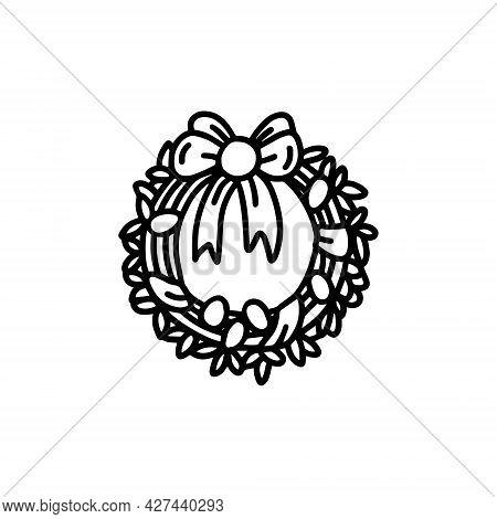 Easter Wreath. Cute Wreath With Eggs. Vector Illustration