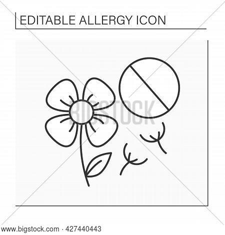 Spring Allergy Line Icon. Season Allergic Reaction On Blooming Flowers. Pollen Allergy. Healthcare C