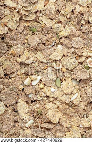 Muesli. Close-up Of Muesli, Breakfast Cereals Scattered On The Table. Healthy Food Banner