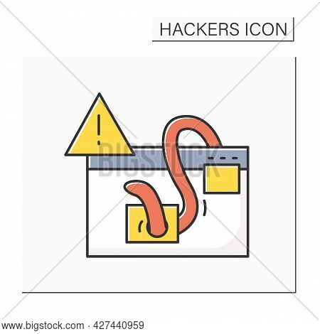 Malware Alert Color Icon. Webpage Or Site Malware Worm Injection Antivirus Warning Linear Pictogram.