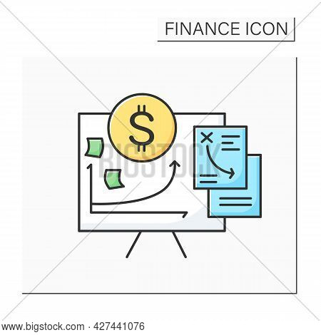 Financial Plan Color Icon. Project Cost Planning Presentation. Concept Of Budget, Finance Analytics,