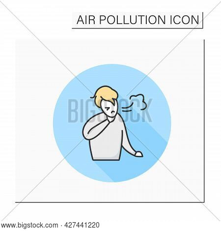 Trouble Breathing Color Icon. Coughing Man. Industrial Smog, Biohazard Emissions. Environment Pollut