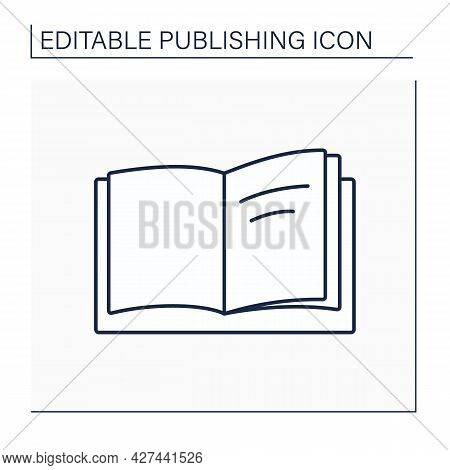 Title Page Line Icon. First Page Of The Book. Title And Names Of Author And Publisher. Publishing Co