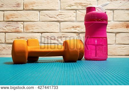 Fitness Dumbbell And Bottle With Water Staying Next To The Brick Wall. Bodycare, Gym, Sports And Hea