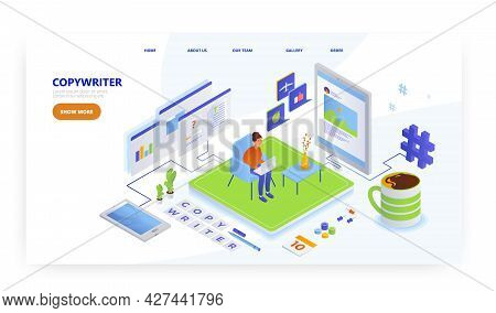 Copywriter, Landing Page Design, Website Banner Vector Template. Blogging, Content Management.