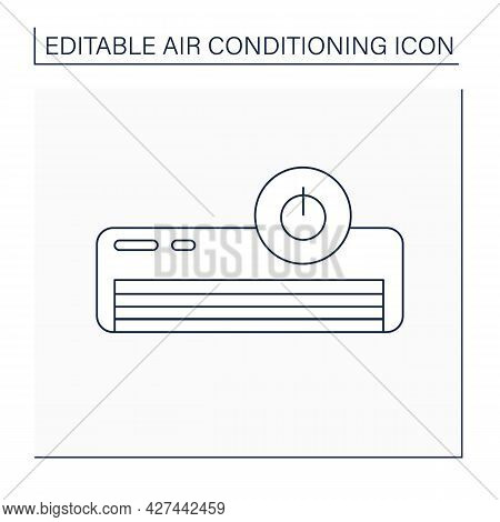Off Mode Line Icon. Switch Off Air Conditioner. Sleep Mode. Air Conditioning Concept. Isolated Vecto