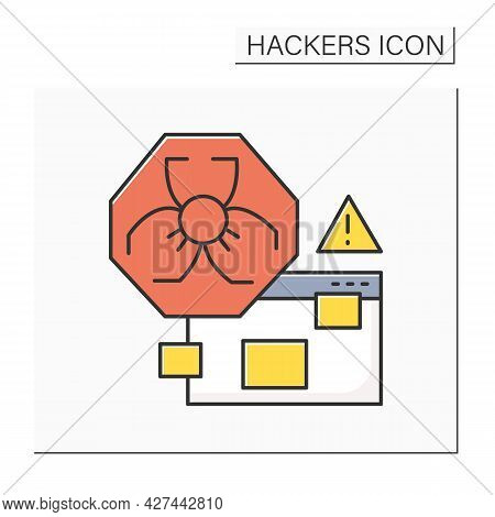 Malware Alert Color Icon. Malicious Hacker Software Antivirus Warning Line Pictogram. Concept Of Mal