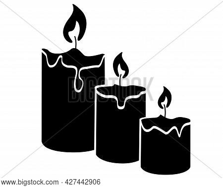 Candles Are A Sign For Identity, A Symbol. Three Candles Of Different Sizes Are Burning - Vector Sil