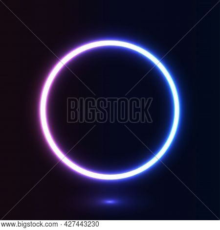 Neon Glow Circle On Dark Background. Geometric Shape With Copy Space For Banner, Poster, Advertising