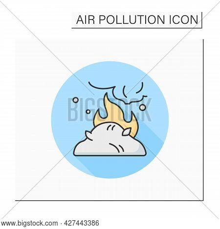 Agricultural Emissions Color Icon. Incineration Of Agricultural Waste. Industrial Smog, Biohazard Em