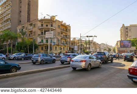 Cairo - Egypt - October 4, 2020: View Of Cairo Old Historical Residential District With Main Street