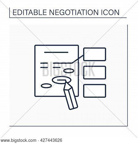 Amendment Line Icon. Minor Change Or Addition To Improve Deal Text. Correction In Agreement. Negotia