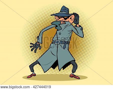 A Spy Eavesdrops On Conversations, A Big Ear. State Espionage