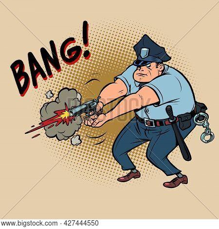 The Policeman Shoots. The Officer Uses A Handgun Weapon. Detaining A Dangerous Criminal