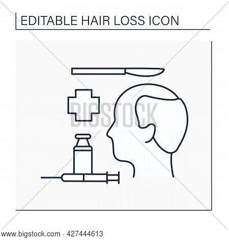 Hair Loss Line Icon. Surgical Restoration.transplant Surgery. Relocating Hair Follicles To Bald Or T