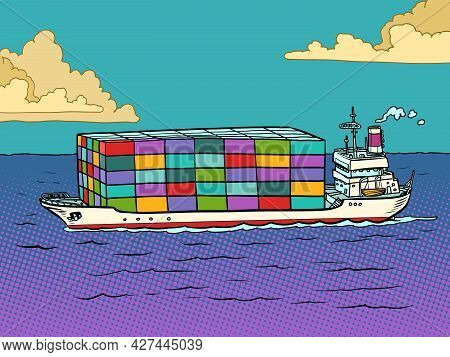 The Ship Is A Sea Container Ship. Cargo Transportation And Logistics