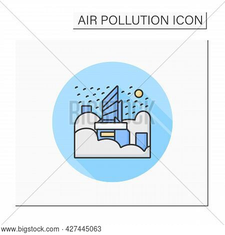 City In Smog Color Icon. Haze. Industrial Emissions, Air Pollution. Greenhouse Effect. Environment P