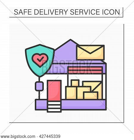 Post Office Color Icon. Post Building Loaded With Parcels And Stop Covid. Concept Of Safe Mail Deliv