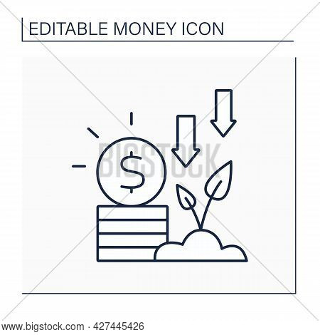 Invest Line Icon. Put Cash Into Financial Schemes, Shares, Property. Investition In Commercial Ventu