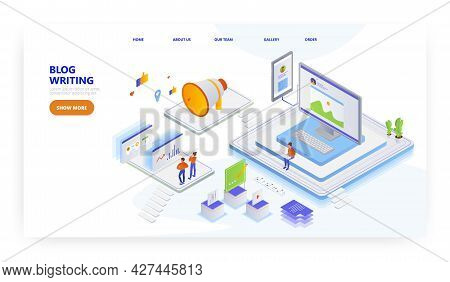 Blog Writing, Landing Page Design, Website Banner Vector Template. People Creating Content For Blog