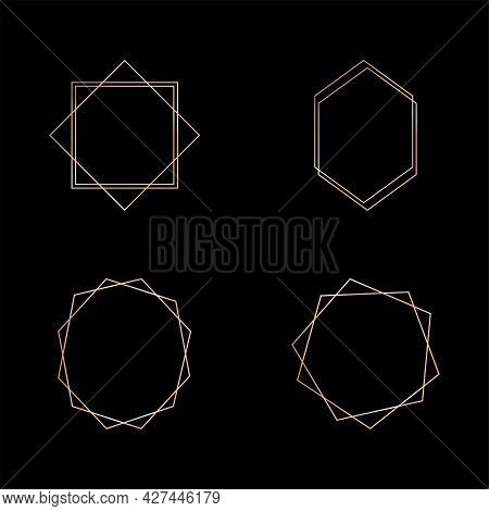 Gold Collection Of Geometric Frame. Decorative Element For Card, Invitation. Art Deco Style For Wedd
