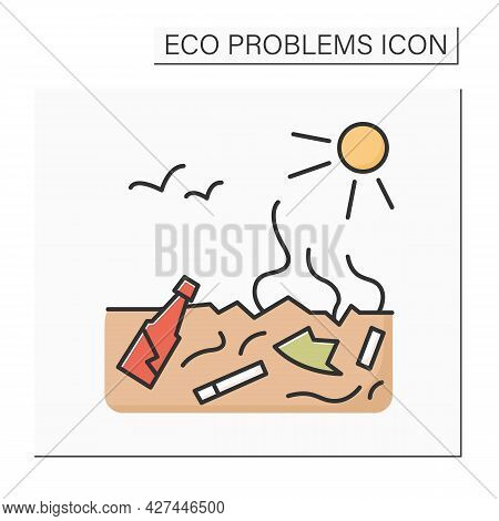 Soil Pollution Color Icon. Buried Toxic Plastic Contaminating Groun. Concept Of Land Degradation, Re