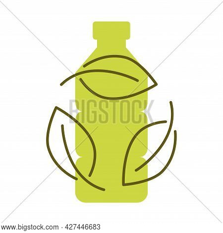 Biodegradable Plastic, Sign. Icon Of Plastic Bottle With Green Leaves. Turns To Plant Concept. Eco F