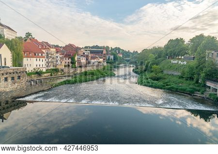 Gorlitz, Germany - June 2, 2021: Lusatian Neisse River With Waterfall On The Border Between Poland A