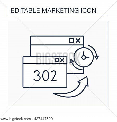 302 Redirect Line Icon. Redirecting Users From One Page To Another Is Utilized For Temporary Situati