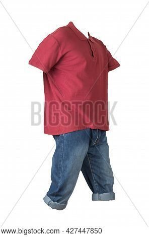 Denim Shorts And T-shirt With A Collar On Buttons Isolated On White Background.