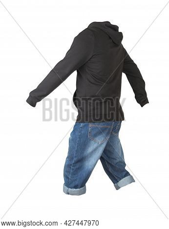 Denim Dark Blue Shorts And Hoody Isolated On White Background. Mens Jeans