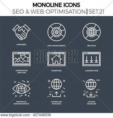 Line Icons Set With Flat Design Of Search Engine Optimization. Partners, Data Management, Seo Data,