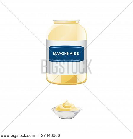 Mayonnaise In Glass Bottle With Ceramic Bowl. Jar With White Sauce. Condiment Container In Cartoon S