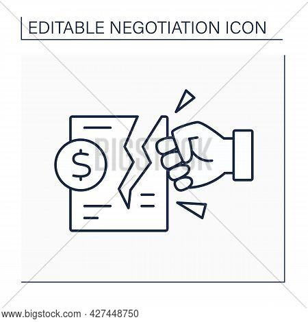 Deal Breaker Line Icon. Break Offer. Contract Terms Contradict Another Agreement Or Would Require To