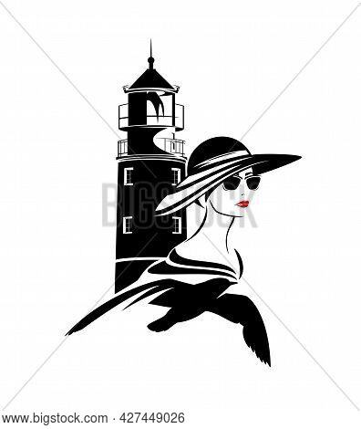 Lighthouse, Flying Seagull And Beautiful Young Woman Tourist Wearing Sunglasses And Wide Brimmed Hat