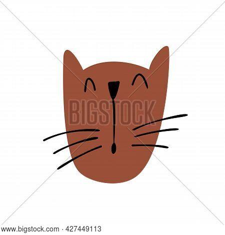 Cute Children Vector Hand Drawn Cat Face. Scandinavian Design Illustration Isolated On White Backgro