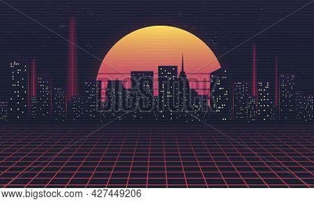 Retro Futuristic Night City. Cityscape With Neon Lights, Retro Sun And Laser Grid. Cyberpunk Concept
