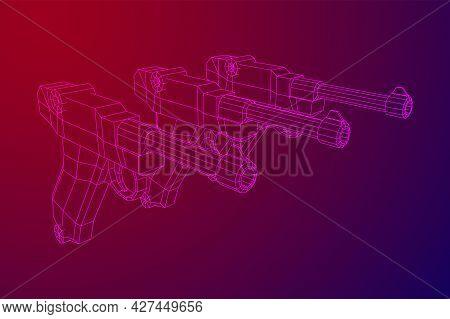 German World War Military Firearm Pistol. Wireframe Low Poly Vector.