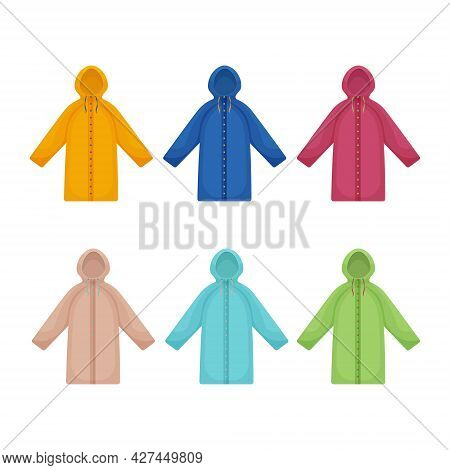 A Large Set With The Image Of Raincoats Of Various Colors And Shapes. Waterproof Clothing For Walkin