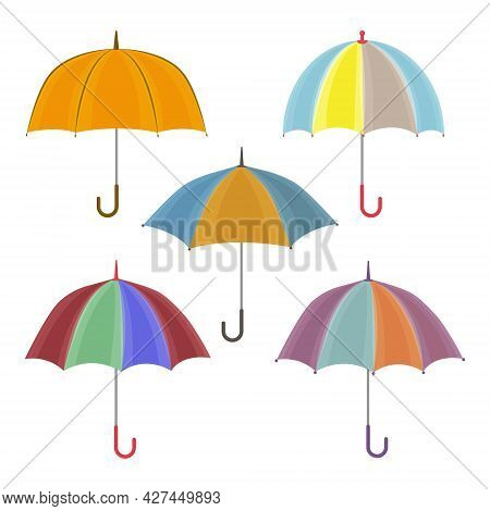 A Large Set With The Image Of Umbrellas Of Various Colors And Shapes. Large Bright Umbrellas For Wal