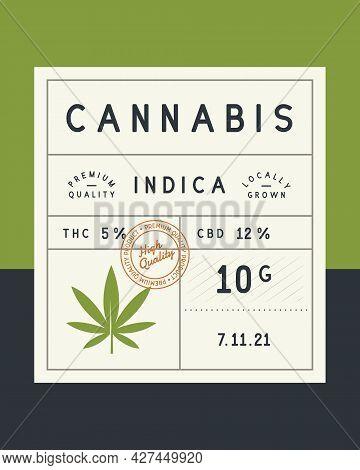 Cannabis, Marijuana Vintage Label. Cannabis Vintage Packaging Design. Recreational, Medicine Cannabi