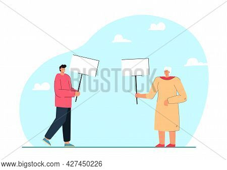 Elderly Woman And Young Man Holding Banners. Flat Vector Illustration. People Of Different Ages Decl