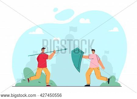 Two People Fighting Flat Vector Illustration. One Person Throwing Spear At Another, Who Defending Hi