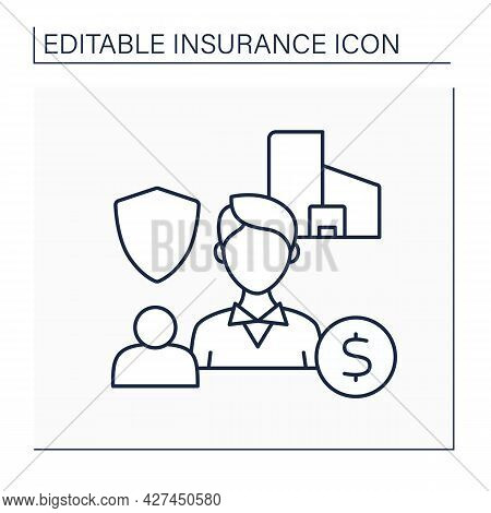 Insurance Broker Line Icon. Professionals Represent Consumers. Worker Searches Insurance Policy For
