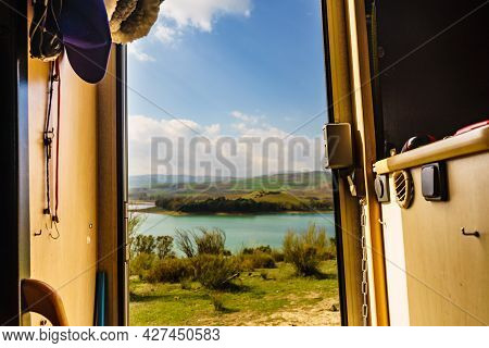 View From Caravan Inside On Nature Landscape In Andalucia Spain. Adventure With Motor Home.