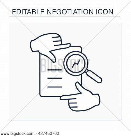 Framing Line Icon. Social Issue. Focusing Attention On One Aspect Of Offer. Negotiation Concept. Iso