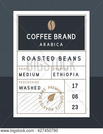 Coffee Beans Vintage Label. Coffee Vintage Packaging Design. Roasted Beans Label, Tag, Sticker Desig